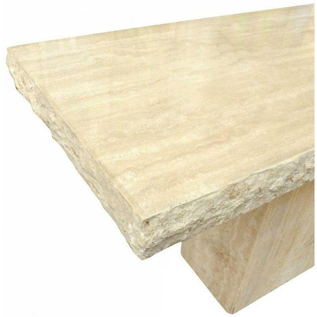 Mid-Century Modern Travertine Marble Console Table For Sale - Image 3 of 4
