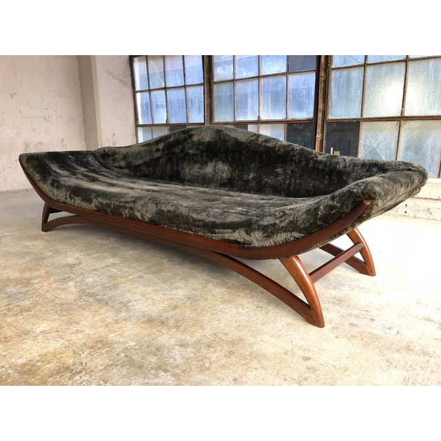 Mid-Century Modern Mid Century Modern Designer Pearsall Style Gondola Sofa Fuzzy Black Velvet For Sale - Image 3 of 10
