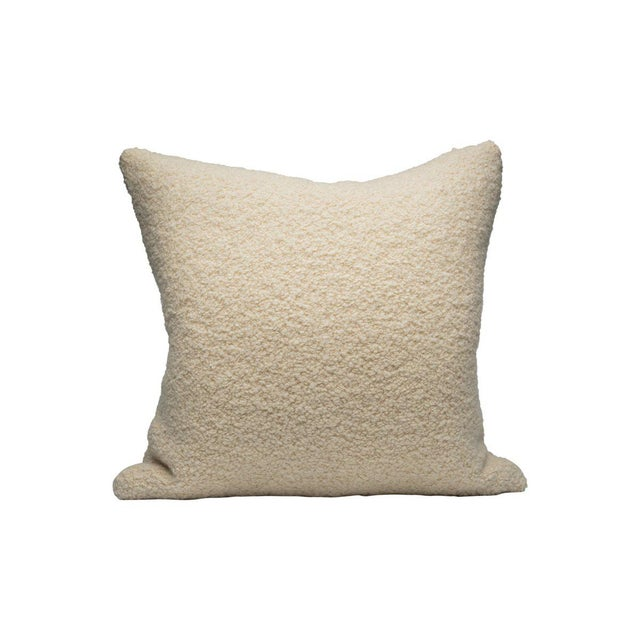 Traditional Mouton Pillow, White For Sale - Image 3 of 3