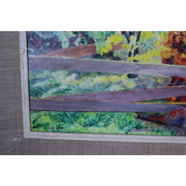 """Burning Bush"" oil on canvas impressionist scene by ede-else. Framed, 16x13"". Canvas 11x9""."