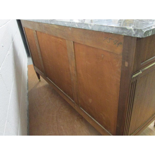 Pair of French Louis XIV Style Marble Top Dressers Commodes For Sale - Image 4 of 9
