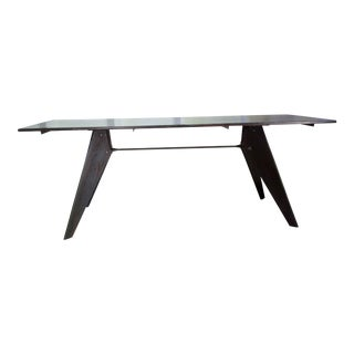 Handmade Mid-Century Prouve Style Black Dining Utility Table 81""