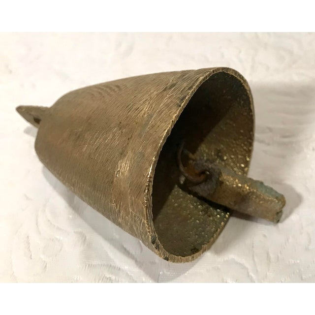 Metal Vintage Mid Century Brass Bell For Sale - Image 7 of 9