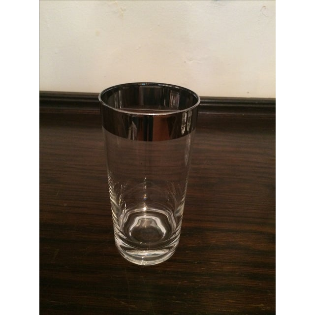 Silver Rimmed Highball Glasses - Set of 8 - Image 3 of 3