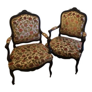 Napoleon III Black Lacquer Arm Chairs a pair For Sale