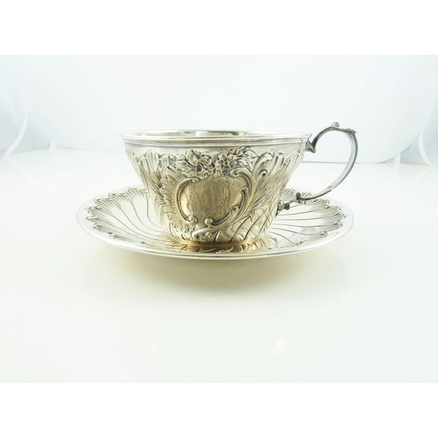 Metal Antique French Sterling Silver Cup and Saucer by Ravinet & Denfert For Sale - Image 7 of 7