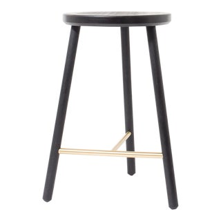 Steven Bukowski Contemporary Scout Stool in Blackened Oak and Brass For Sale