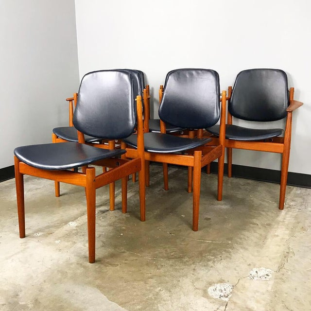 France & Son Rare Set of 6 Dining Chairs by Arne Vodder With New Upholstery For Sale - Image 4 of 13