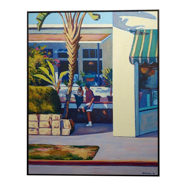 Dennis McNaboe -Santa Barbara Paradise Cafe -Oil Painting For Sale