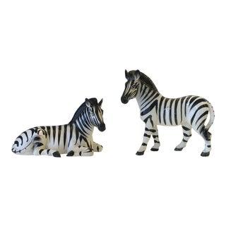 Vintage 1960s Zebra Porcelain Figures - a Pair For Sale