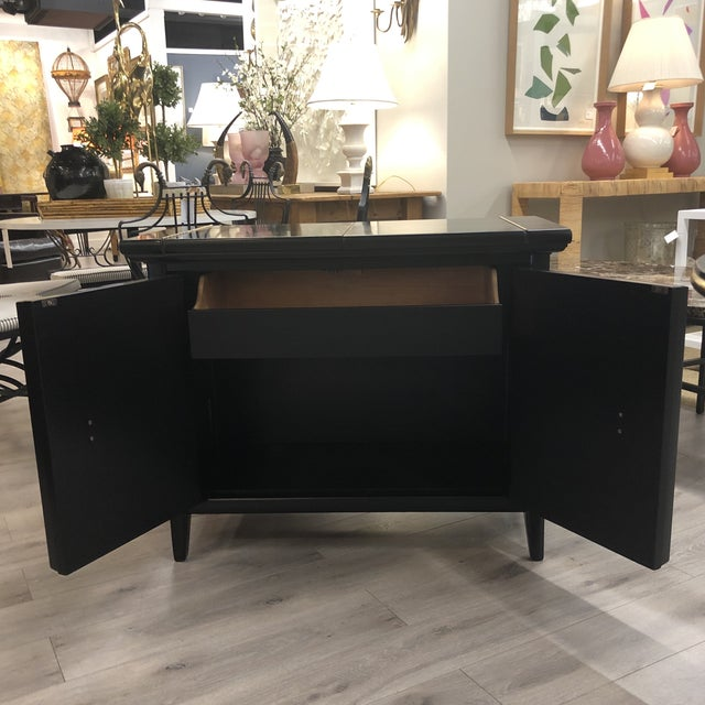 """fabulous midcentury modern bar newly lacquered black with great brass hardware . opens to 57.5""""(L)"""