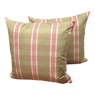 Custom Green & Red Down Blend Pillows - A Pair For Sale