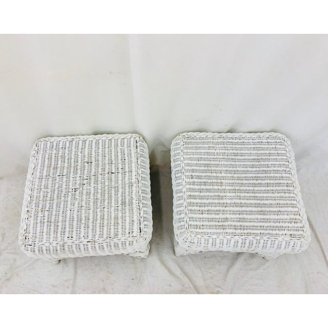 Pair Vintage Woven Wicker Ottomans For Sale In Raleigh - Image 6 of 10