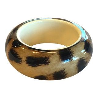 Roberto Cavalli Lucite Resin Animal Print Leopard Oversize Bangle Bracelet For Sale