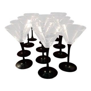 Luminarc Black Stem Martini Glasses - Set of 12