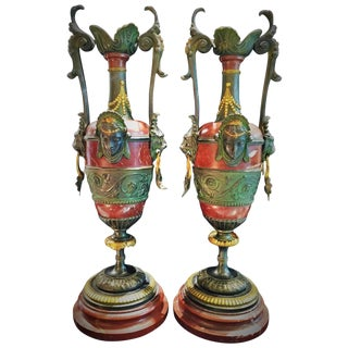 Napoleon III Marble and Bronze Garniture, France, 19th Century For Sale
