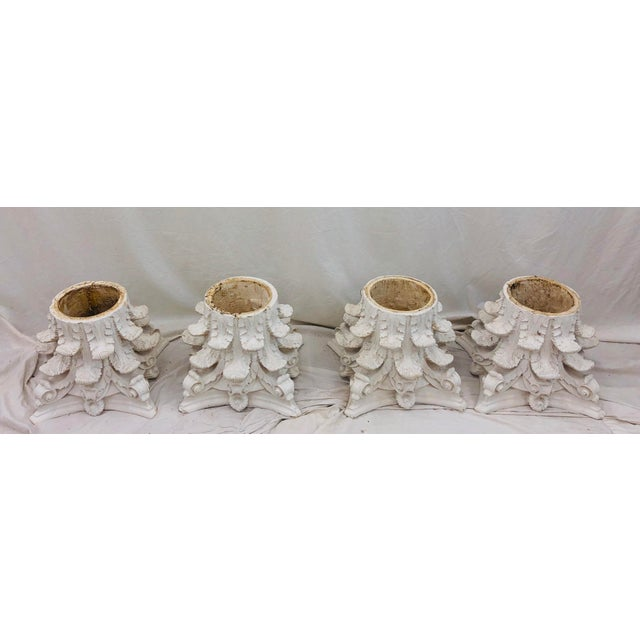 Early 20th Century Vintage White Corinthian Style Column Planters For Sale - Image 5 of 13
