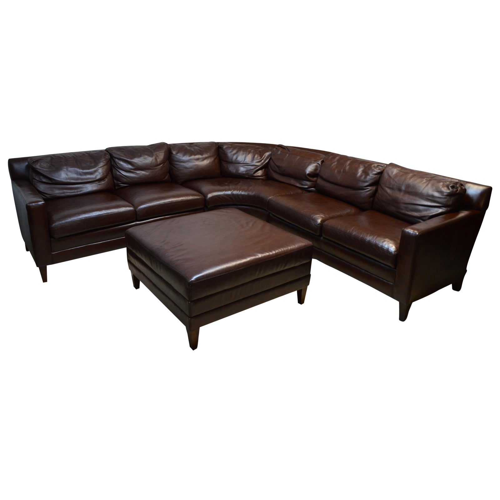 Early 21st Century Vintage Stickley Leather Sectional Sofa & Ottoman ...