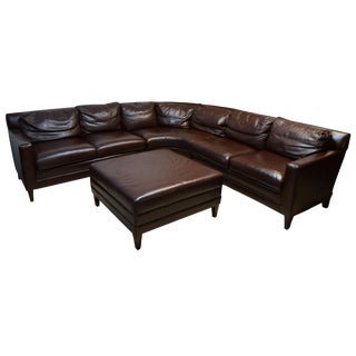 Early 21st Century Vintage Stickley Leather Sectional Sofa & Ottoman For Sale