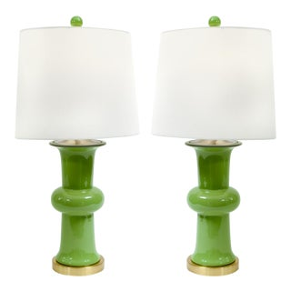 Green Porcelain With Gilt Brass Base Table Lamps - a Pair For Sale