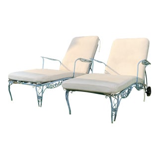 Vintage Mid-Century Salterini Wrought Iron Chase Lounge Chairs With Custom Sunbrella Cushions - A Pair For Sale