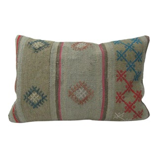 Embroidered Vintage Turkish Kilim Pillow For Sale