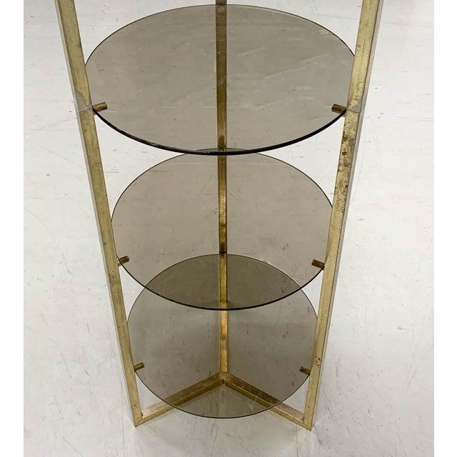 Boho Chic Mid Century Brass 5 Shelf Etager- Vertical Shelving For Sale - Image 3 of 6