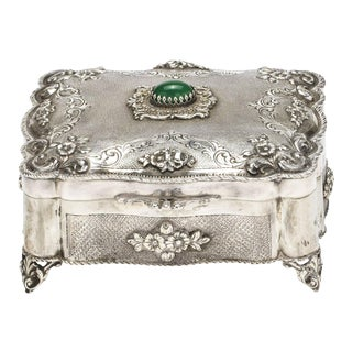 Jewelry Box, 800 silver with Chalcedony Stone For Sale