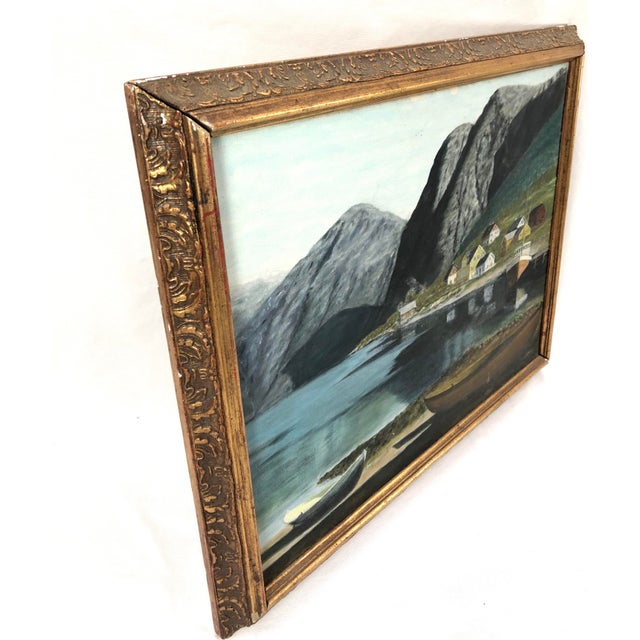 Framed Oil on Board ofSeaside Village With Boats, Signed Jh For Sale - Image 9 of 11