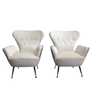 Mid-Century Modern Paolo Buffa Upholstered Lounge Chairs - a Pair For Sale