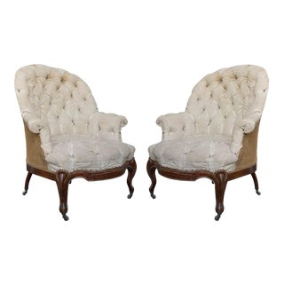 Pair of Large French 19th Century Armchairs With Cabriole Legs