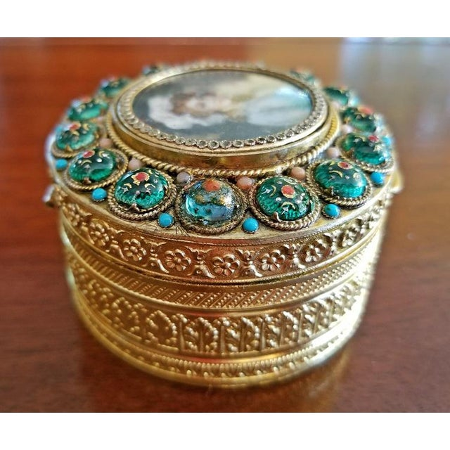 Metal Early 19c French Gold Box With Enamel and Miniature Portrait For Sale - Image 7 of 12