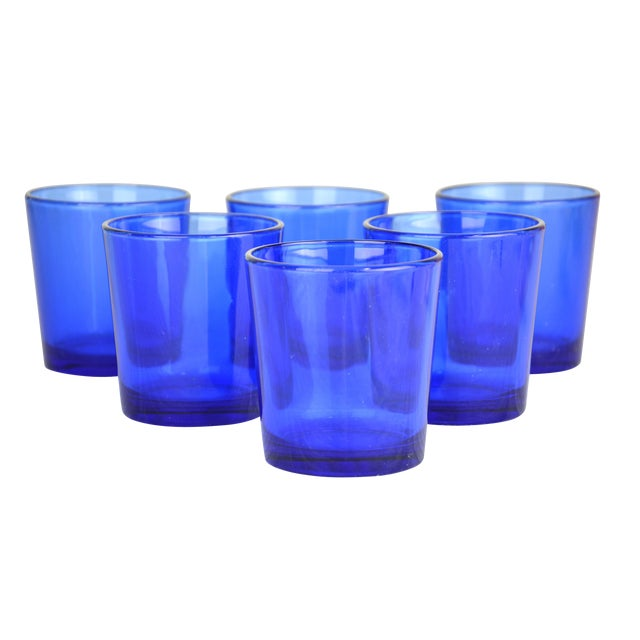Vintage Cobalt Drinking Glasses - Set of 6 For Sale