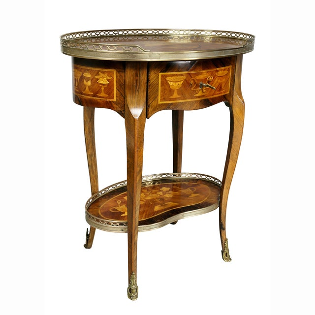 Louis XVI Style Marquetry Table A' Ecrire For Sale - Image 13 of 13