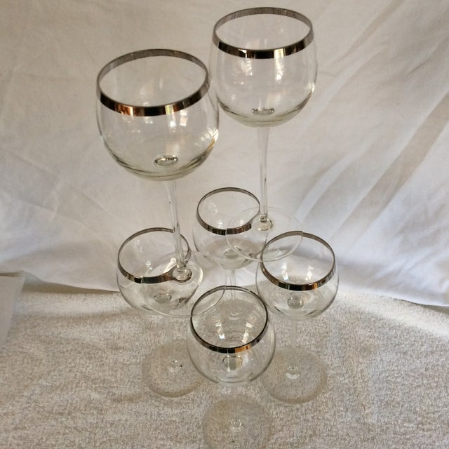 Tall Vintage Crystal Platinum Rim Wine Glasses - Set of 6 For Sale - Image 10 of 13