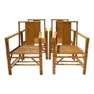 """1990s Vintage David Sutherland """"Makassar"""" Coll. Bamboo-Style Leather Strapped Woven Chairs - Set of 4 For Sale"""