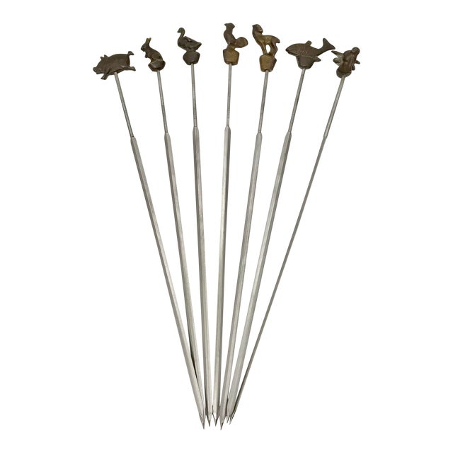 1940s Vintage German Farm Animals Skewers - Set of 7 For Sale