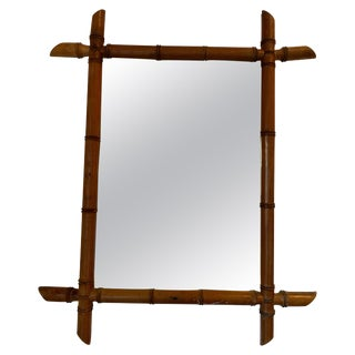 French Faux Bamboo Wood Mirror For Sale