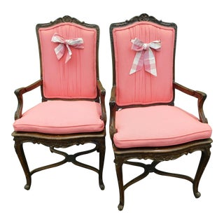 20th Century French Pink Upholstered Carved Wood and Cane Chairs - a Pair For Sale