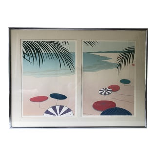 Parasols II & I Diptych Signed Lithograph For Sale