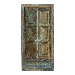Antique Blue Distressed Indian Natural Wooden Carved Window For Sale