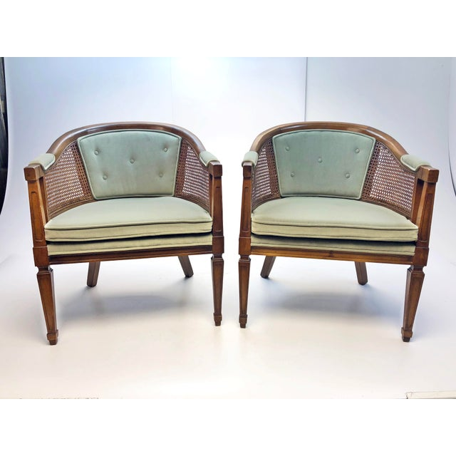 Mid Century Upholstered Cane Wood Barrel Chairs A Pair Chairish