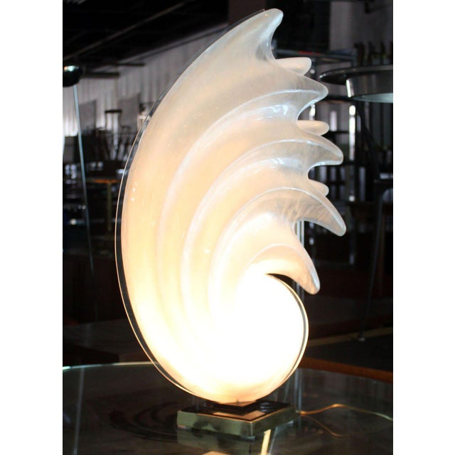 Rougier White Molded Acrylic Mid-Century Modern Sculptural Table Lamp For Sale - Image 4 of 9