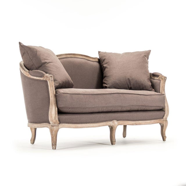French Country Hollow Maison Settee in Aubergine For Sale - Image 3 of 10