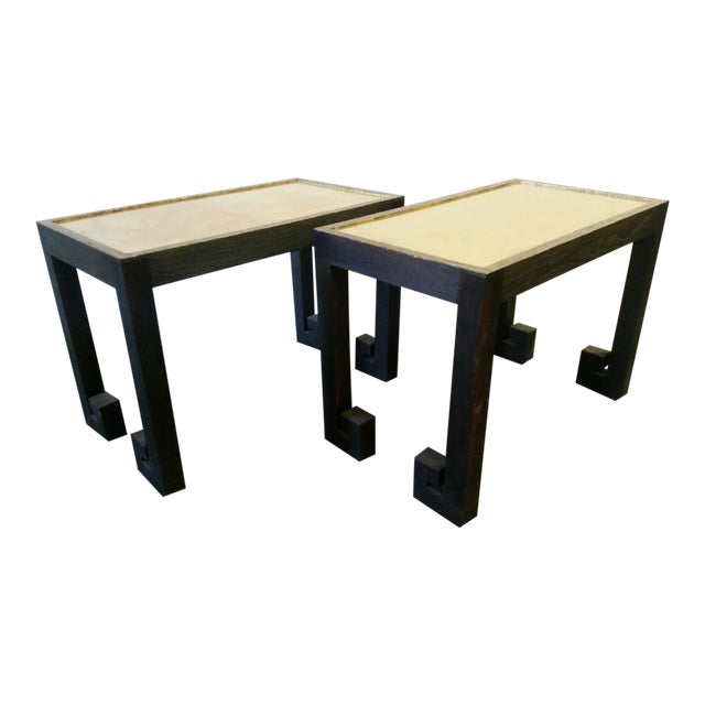 Transitional Paul Marra Distressed Greek Key Side Tables - a Pair For Sale