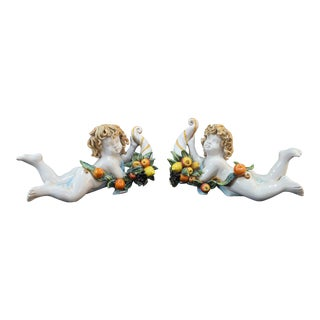 Apolito Faience Italian Colorful Majolica Cherub Fruit Cornucopia Figurine Pair For Sale