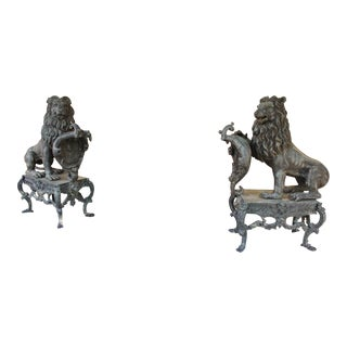 Vintage Bronze Lions on Stands-a Pair For Sale