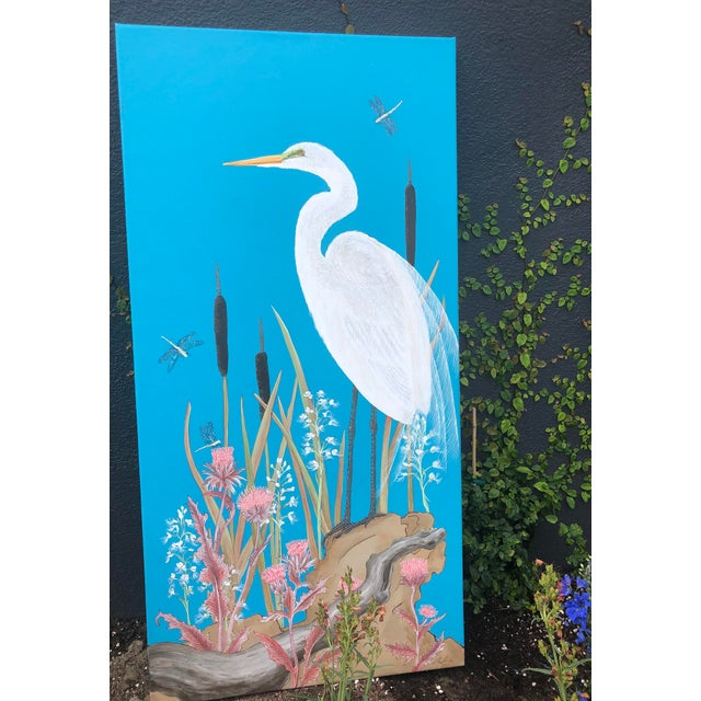 """Canvas """"Nothing to Egret"""" Modern Chinoiserie Painting by Allison Cosmos For Sale - Image 7 of 9"""