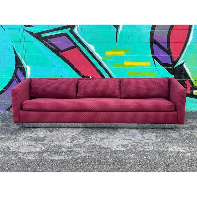 Vintage Burgundy Sofa For Sale - Image 4 of 4