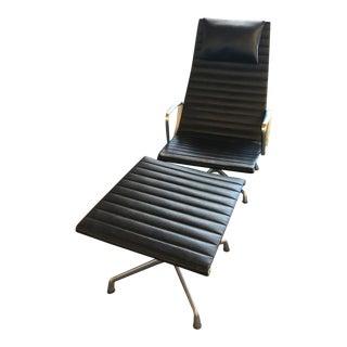 1960s Vintage Herman Miller Aluminum Group Eames Lounge Chair & Ottoman For Sale